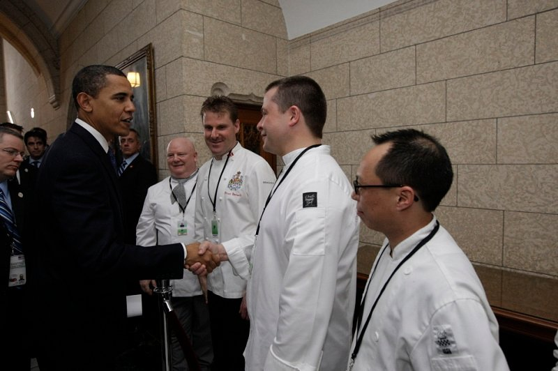 Jonathan Collins Greeting President Obama