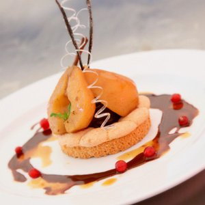 Le Cordon Bleu Spiced Pear Dacquoise with Chocolate and Red Wine Sauce