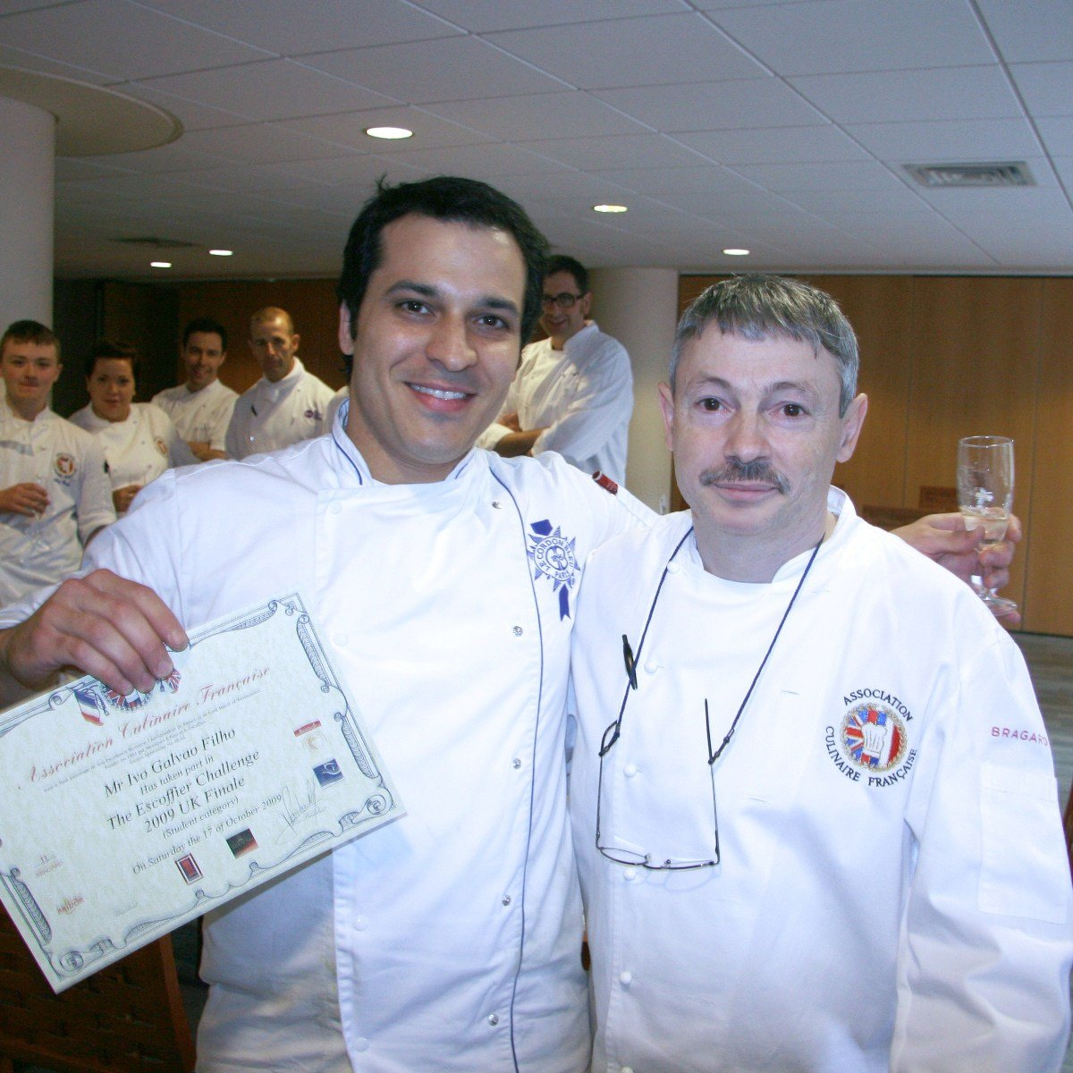 Ivo Galvao and Philippe Vandewalle, Head Chef of the Casino Ritz and co-organiser of the competition with Jacques Pasquier