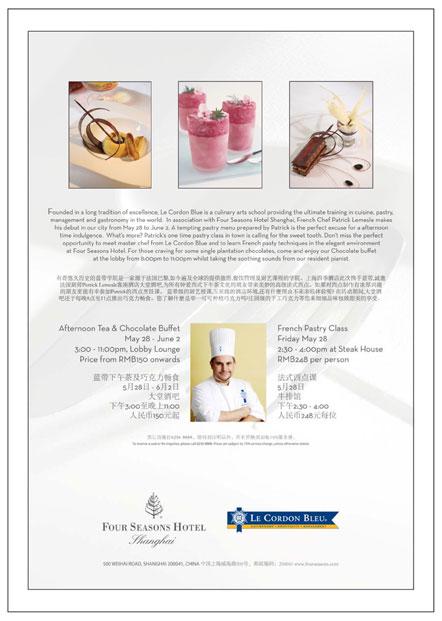 Le Cordon Bleu at Four Seasons Hotel Shanghai Announcement