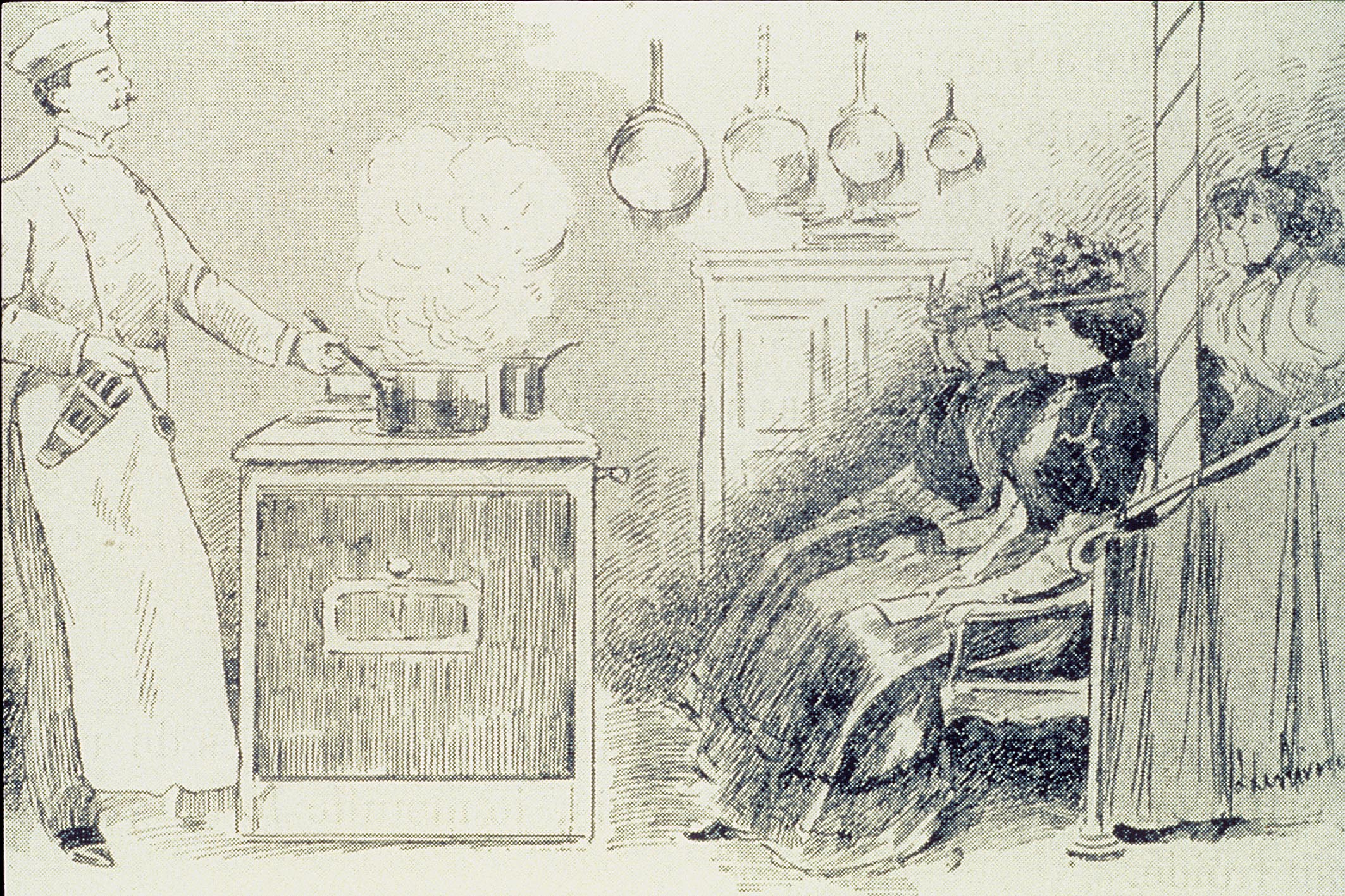 Drawing Of A Culinary Arts Class In Late 20th Century