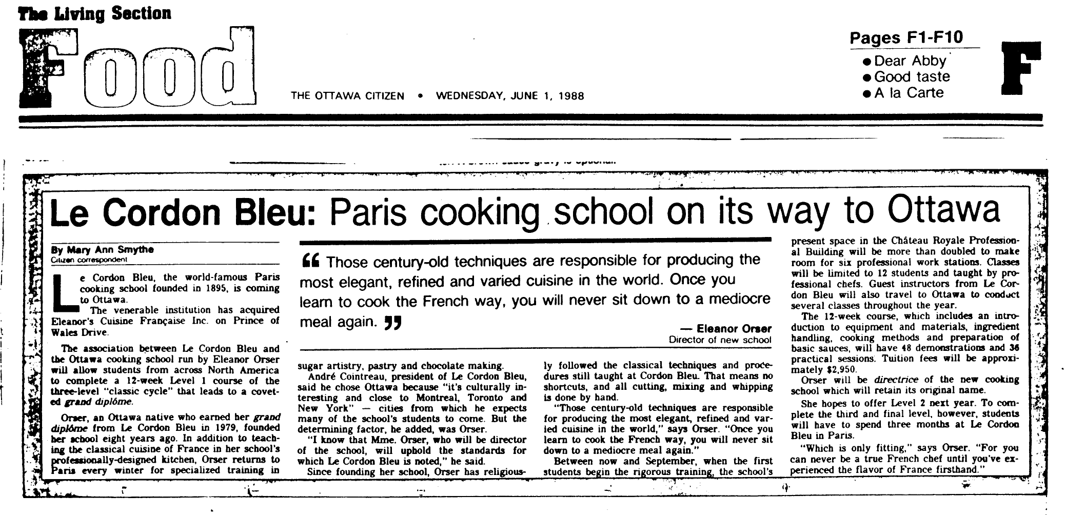 A Newspaper Article Commenting on The Opening of Le Cordon Bleu Ottawa