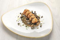 Recipe : Truffle glazed langoustines, spelt and horn of plenty mushroom 'risotto'