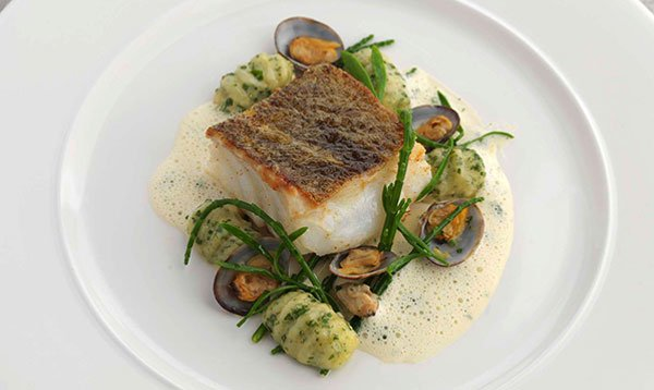Pan roasted cod, herb gnocchi, clams, parsley and garlic sauce