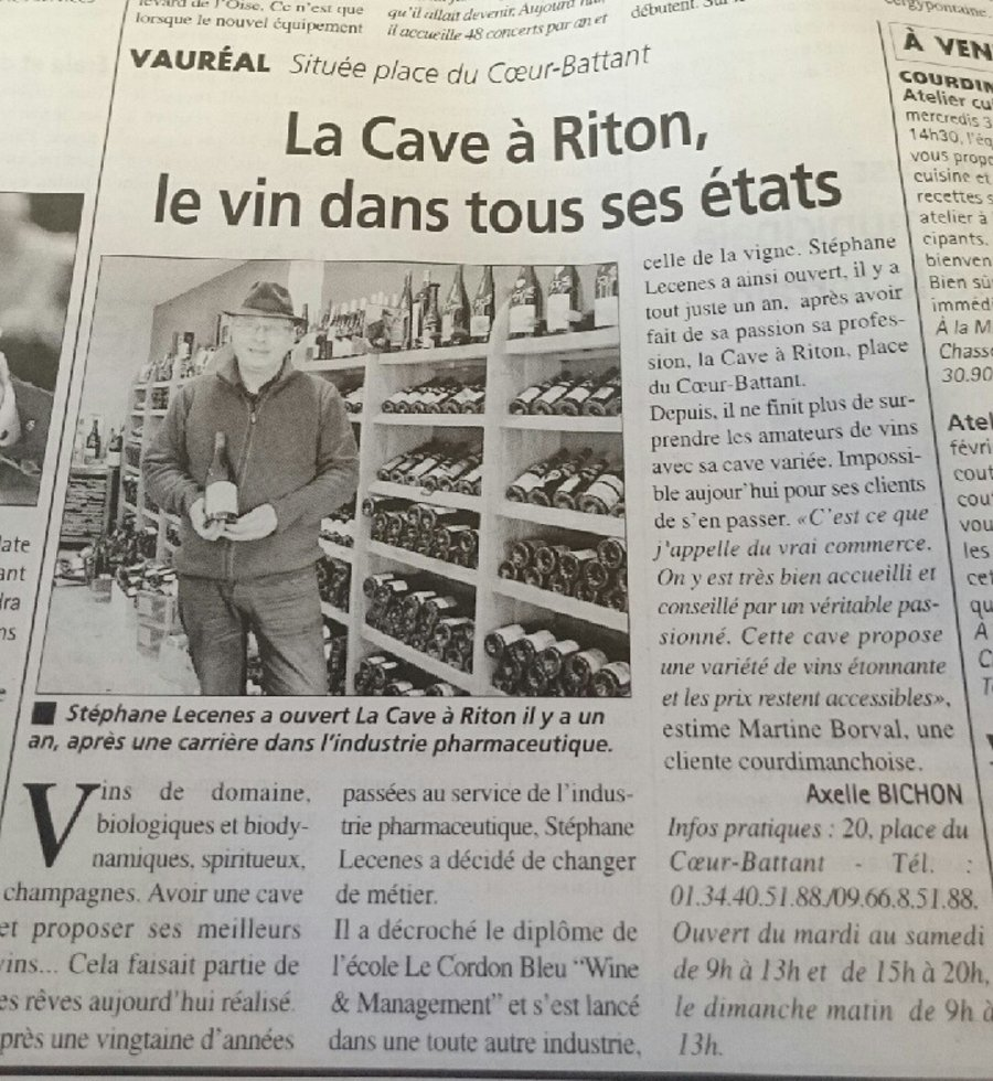 Newspaper article for Stephane's wine shop