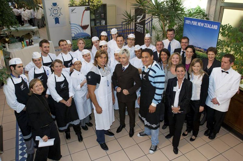 Dimitri Szarzewski and Chris Masoe with Le Cordon Bleu Students in the Winter Garden at Le Cordon Bleu Paris