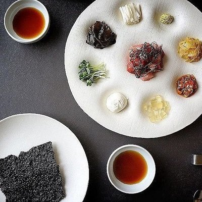 An elaborate Korean dish consisting of nine different elements