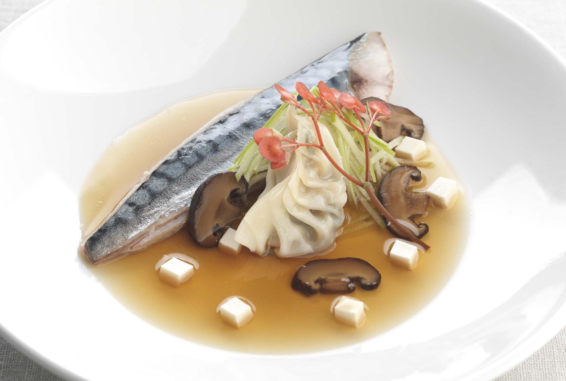 Recipe: Dashi poached mackerel, soy infused shiitake and tofu gyoza, Granny Smith apple