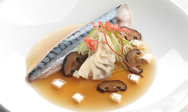 Le Cordon Bleu recipe Dashi poached mackerel, soy infused shiitake and tofu gyoza, Granny Smith apple