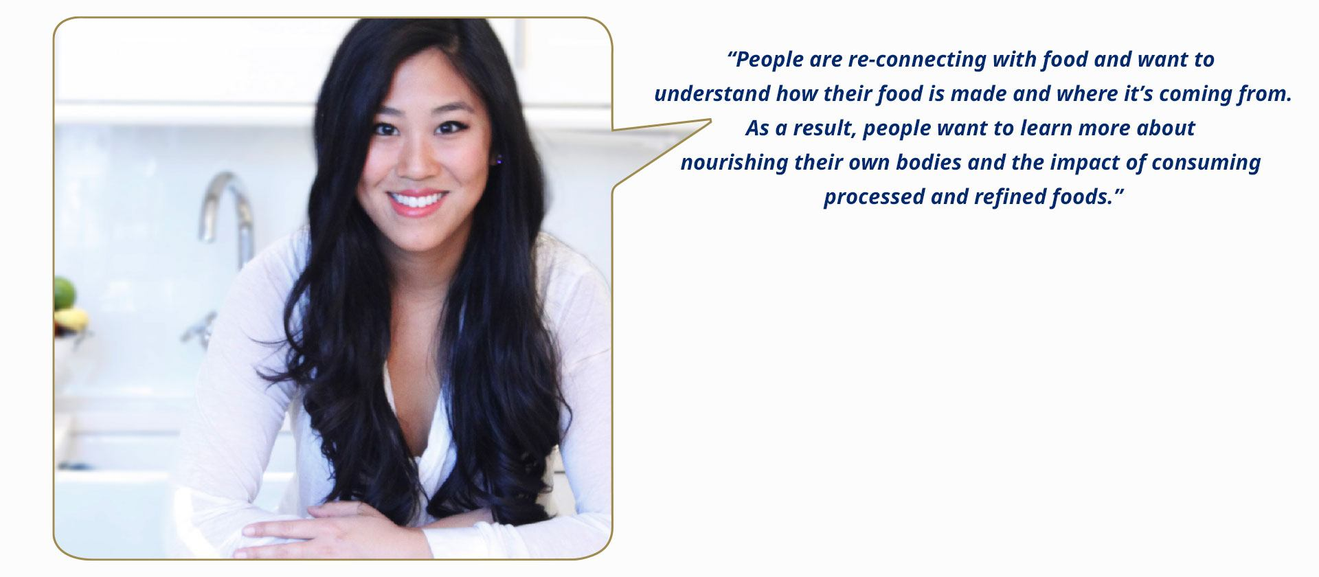 Adria Wu, (UK) Resident chef at Mint Velvet, guest chef on Channel 4's Sunday Brunch, entrepreneurship mentor for underprivileged women and founder of Maple&Fitz.