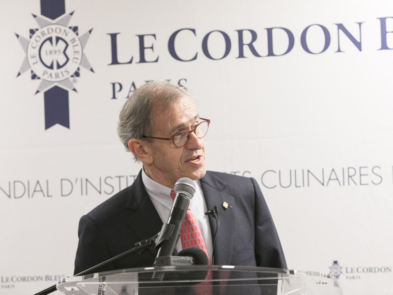 Mr. André Cointreau, Le Cordon Bleu International President, founding member of the Alliance française Foundation and member of the board of the Alliance française for 25 years, emphasizes his desire to share the universal values of La Francophonie