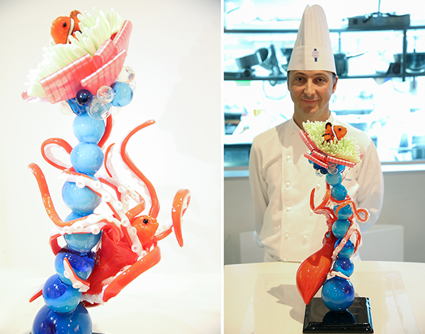 Head Chef creates artistic sugar sculpture