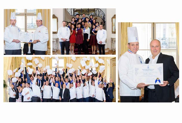 graduation ceremony with Bruno Cormerais and Alain Soliveres chefs
