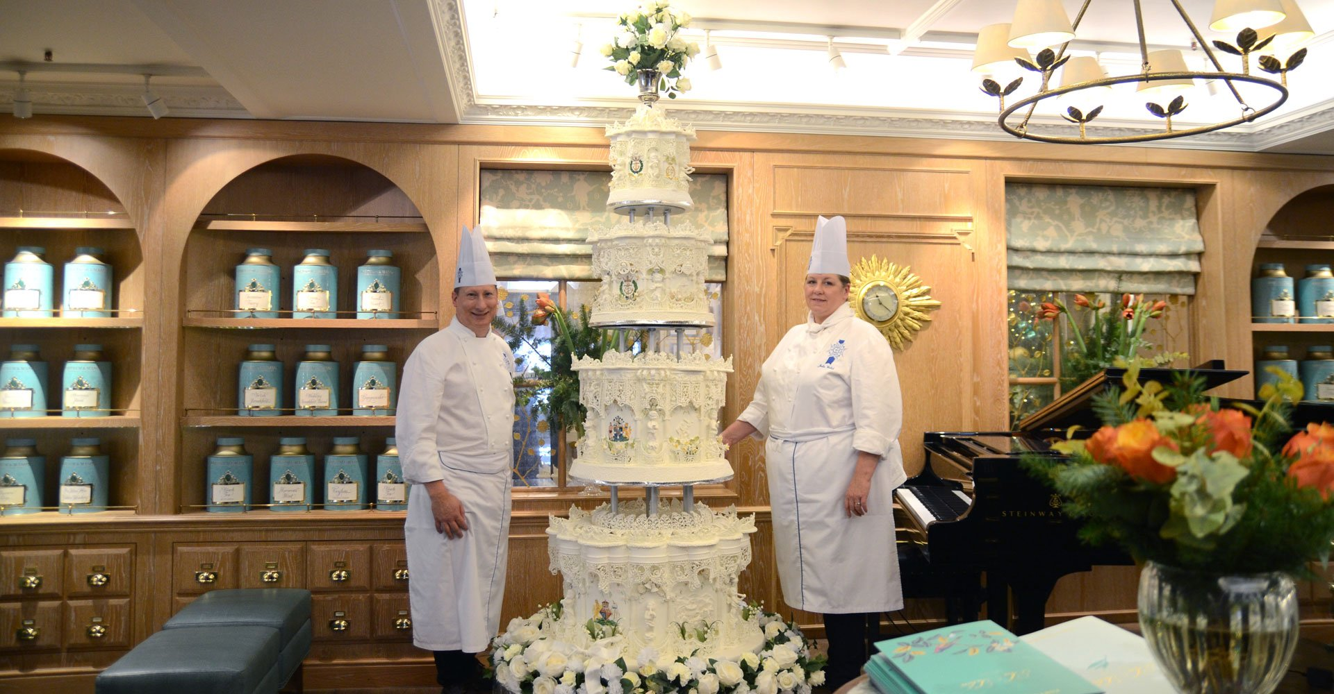 royal wedding cake on display at Fortnum and Mason