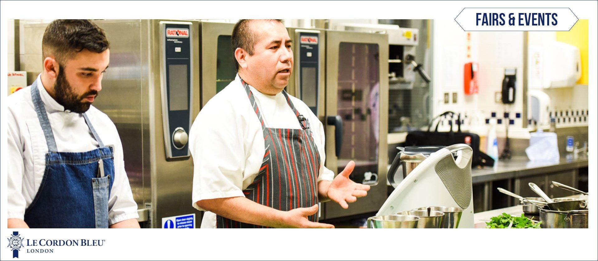 Chef Robert Ortiz in front of Le Cordon Bleu London audience