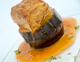 Recipe - Turbot with spice, confit eggplant, sweet and sour sauce