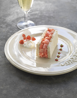 "Recipe - Iced meringue, champagne sorbet and ""biscuit rose"" powder"