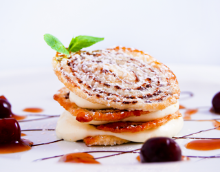 Recipe - Chocolate-flavored puff pastry crisps with fromage blanc and orange cream, cherry and banyuls wine sauce