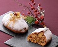 アルザス地方のクリスマスを代表する伝統菓子パン。様々なドライフルーツをリキュールに漬け込みマジパンと焼き上げます。